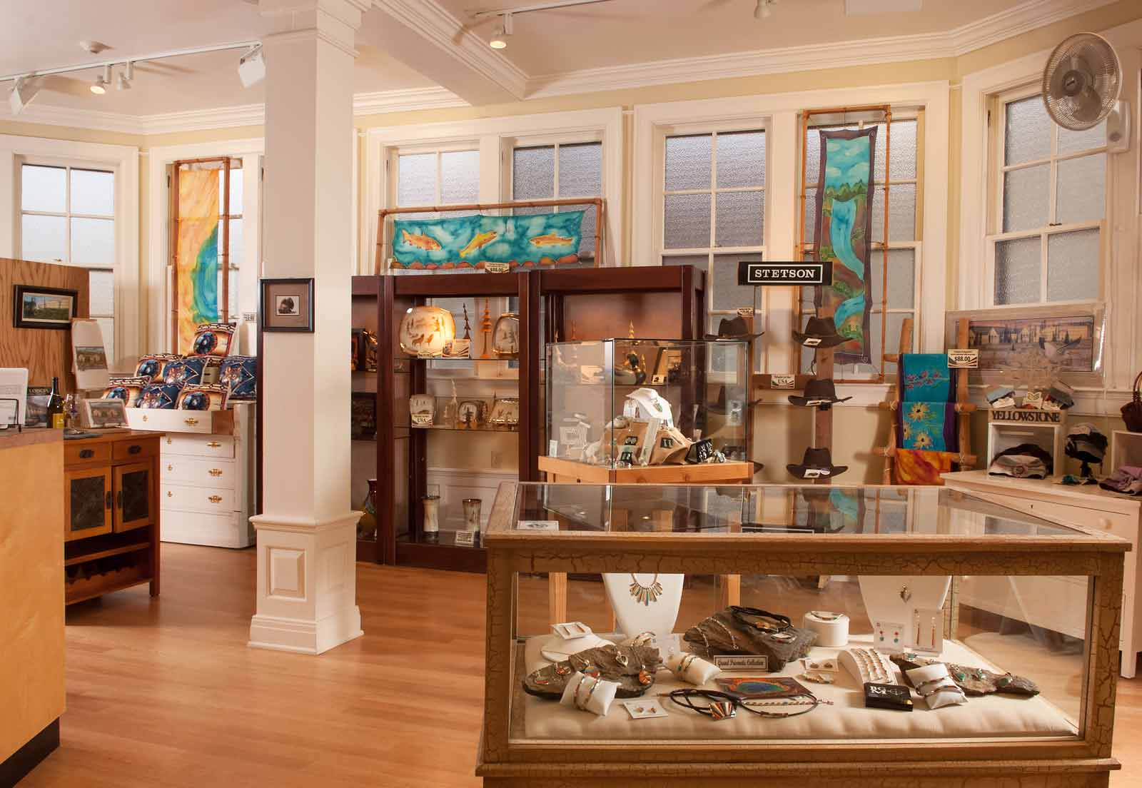 Display cabinets in gift shop