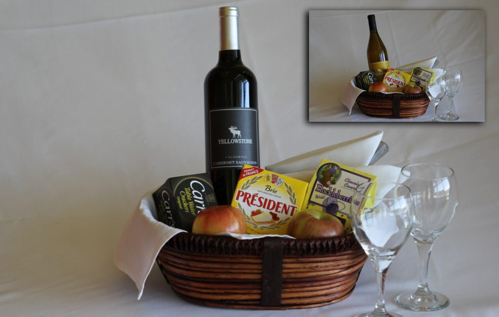 Red or White Wine and Cheese Basket