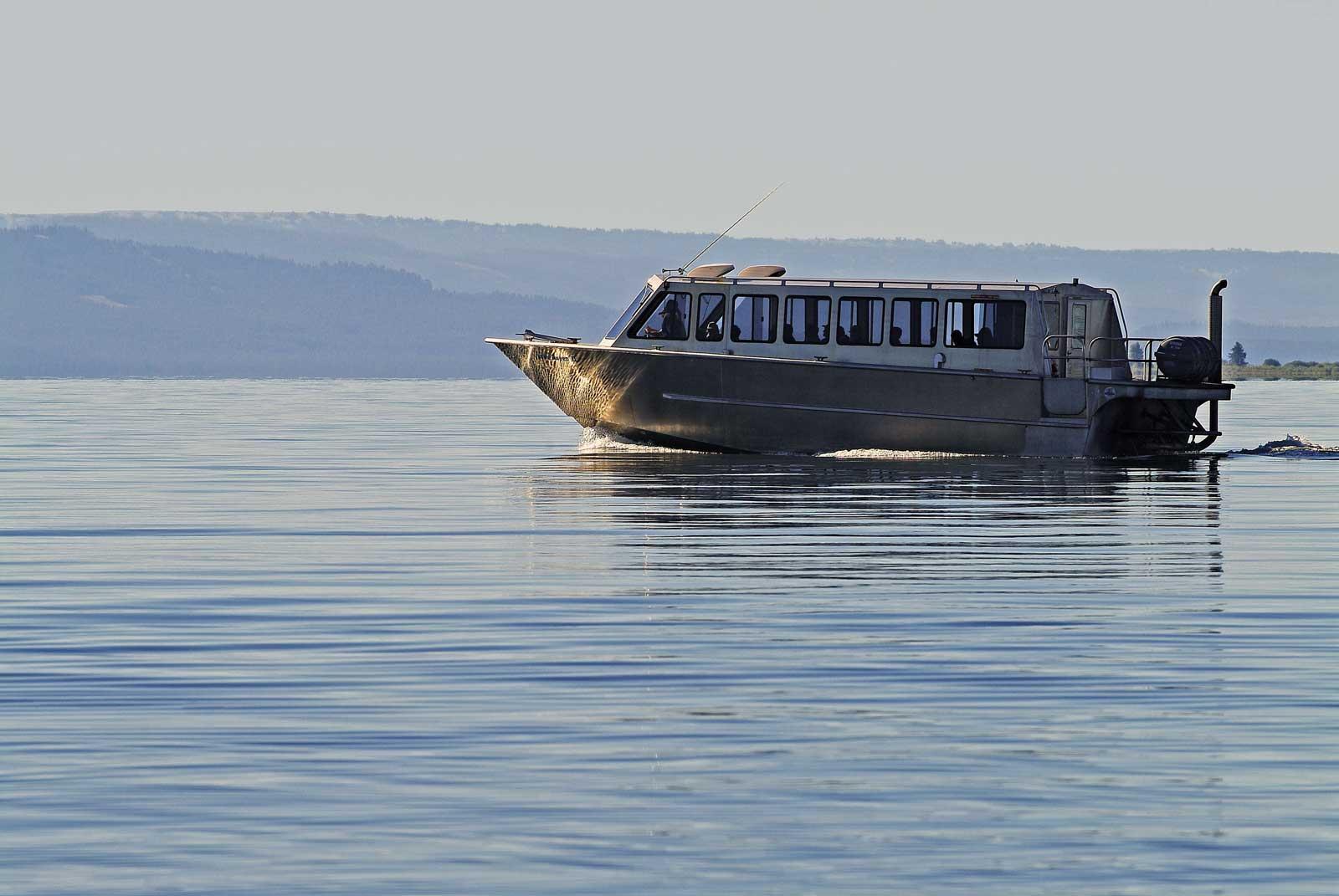 Boat on still water at morning