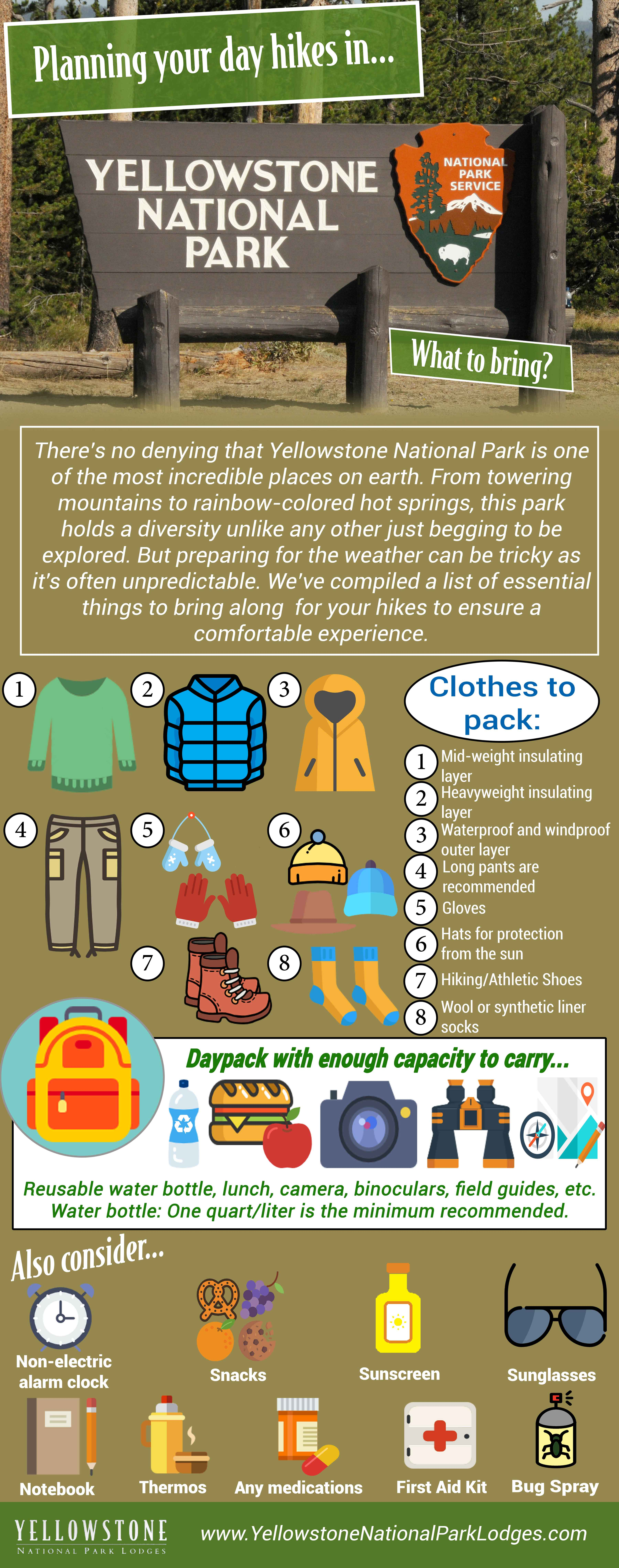 Day hike checklist infographic