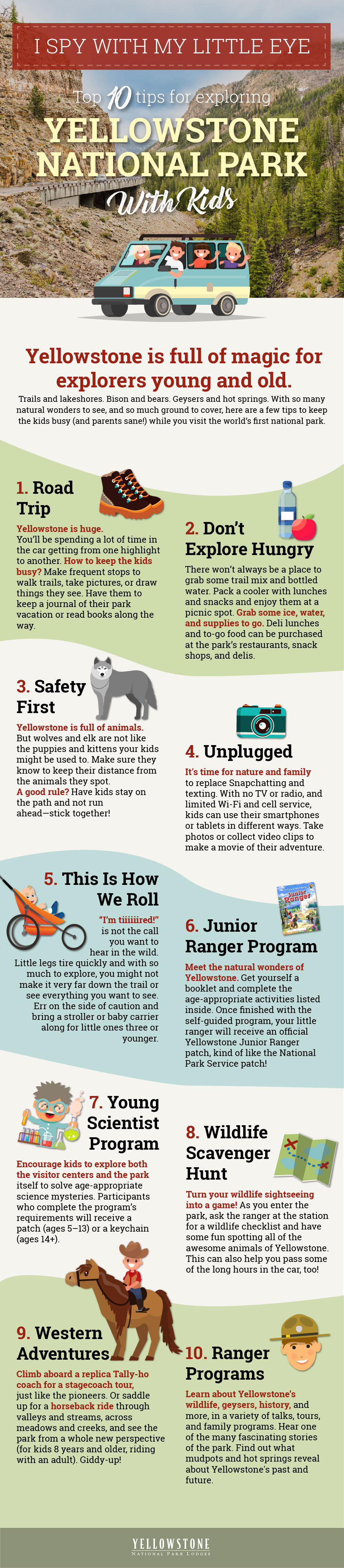 10 tips for Exploring Yellowstone National Park With Kids Infographic