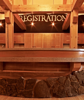 Old Faithful Snow Lodge lobby registration