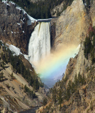 Lower Falls with Rainbow scenic shot