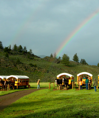 Rainbow with Wagons at the end of the Cookout