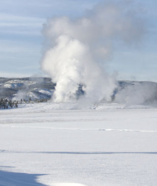 Old Faithful in the winter