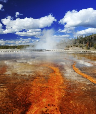 Red colors from Grand Prismatic Spring, Yellowstone National Park