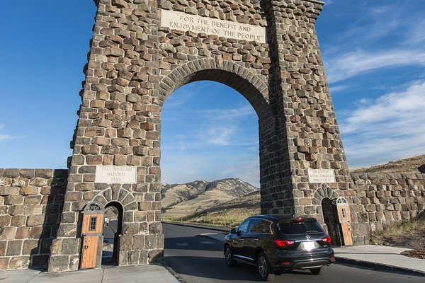 Driving through Roosevelt Arch