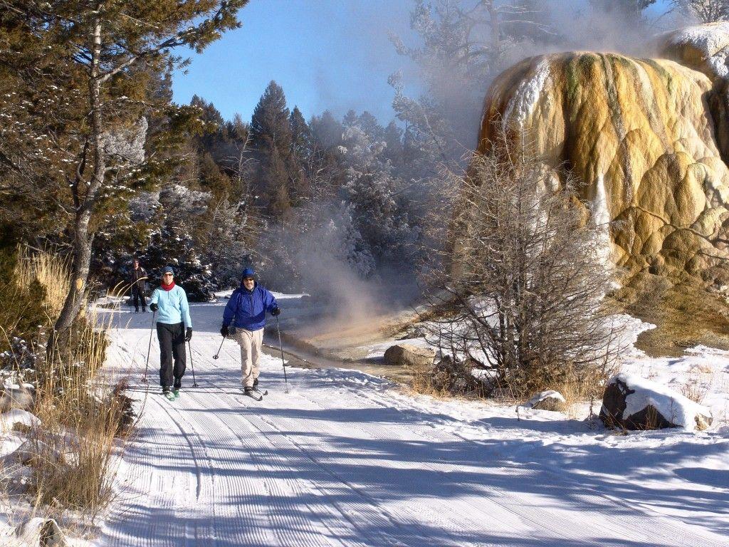 Two skiers cross-country ski past Orange Spring Mound on the Upper Terrace Ski Loop in Mammoth Hot Springs