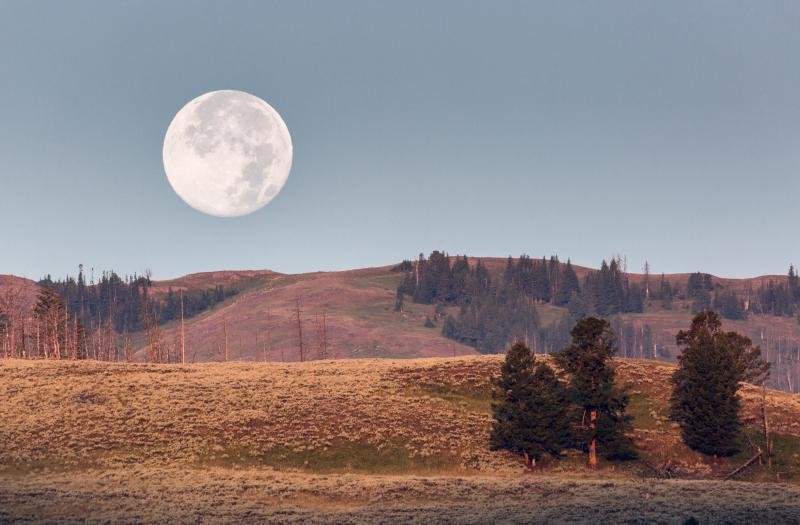 Moonset, Lamar Valley