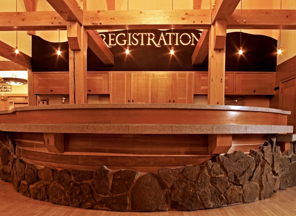 Old Faithful Snow Lodge lobby registration.