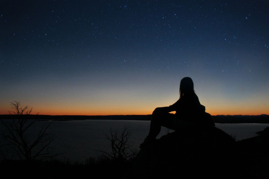 Karley Nugent stargazing at dusk