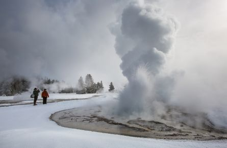 Geyser and Gazers in Winter