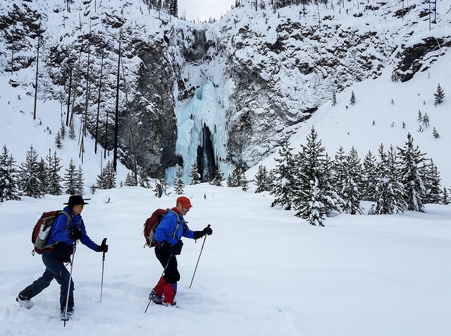 Skiers at Fairy Falls