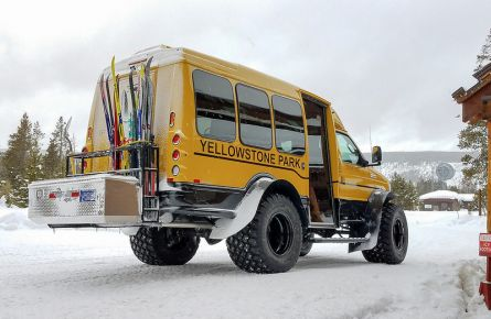 Skier shuttle from Old Faithful Snow Lodge