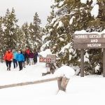 Group walks back to the snowcoach at Norris Geyser Basin
