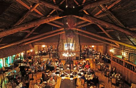 Overlooking view of the busy Old Faithful Inn Dining Room