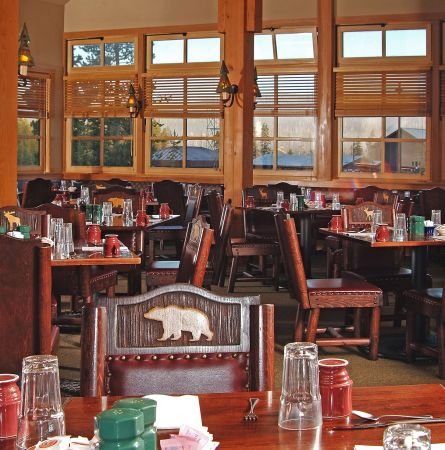 View of empty Old Faithful Snow Lodge Dining Room