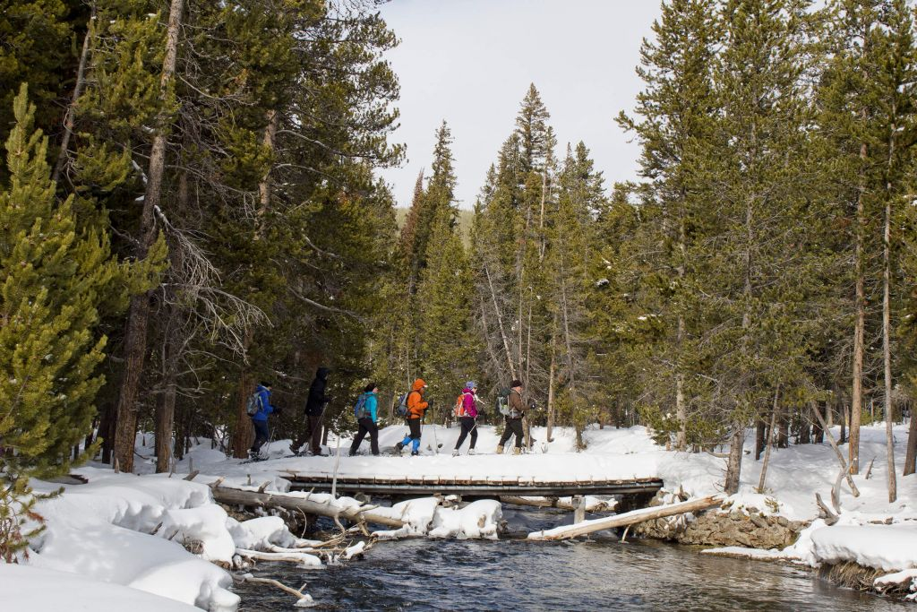 Snowshoe tour crossing stream