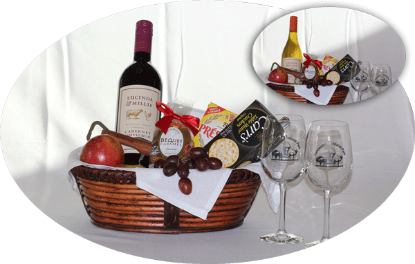 In room gift baskets yellowstone national park lodges red wine or white wine and cheese basket negle Image collections