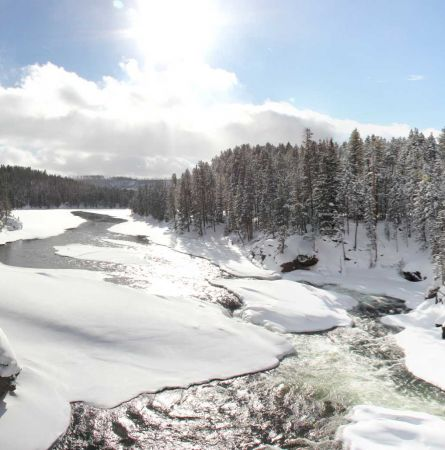 Winter view of a river in yellowstone