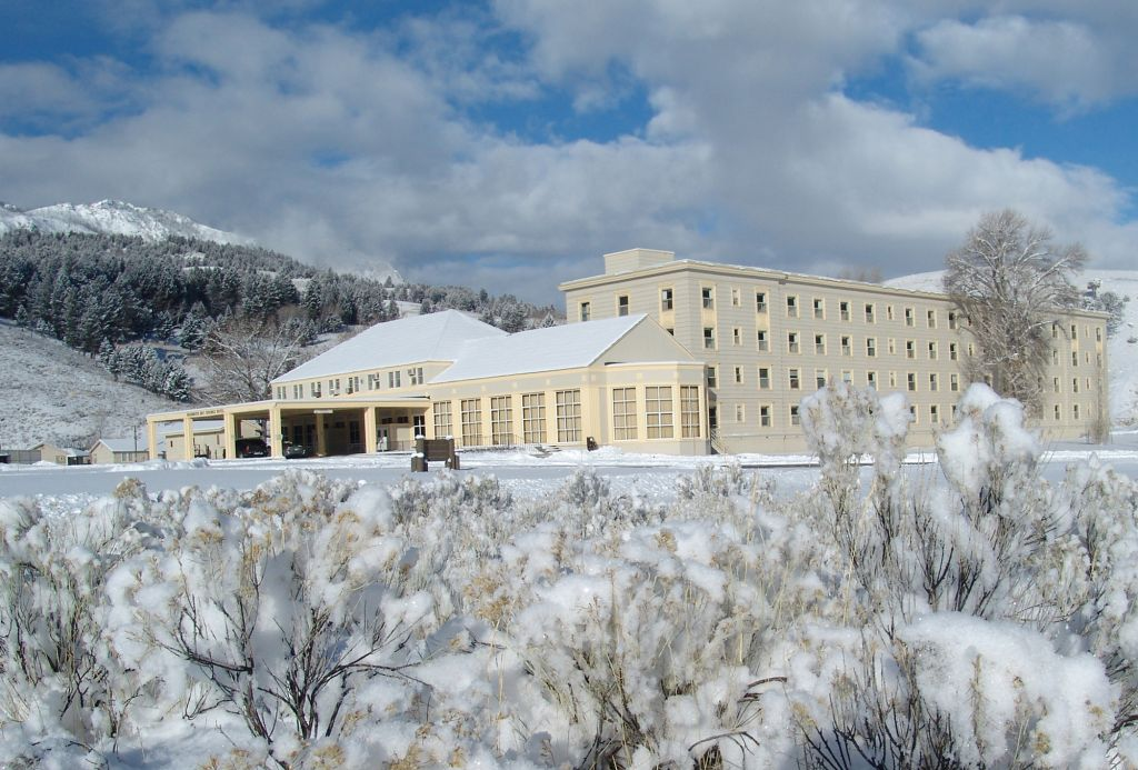 Exterior view of Mammoth Hot Springs Hotel in winter
