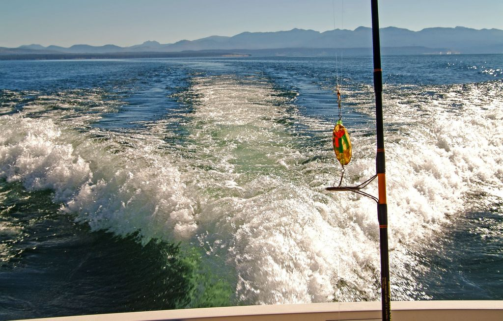 View of rod fishing on Yellowstone Lake
