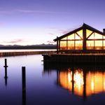 Grant Village Lake House Restaurant exterior view at sunset