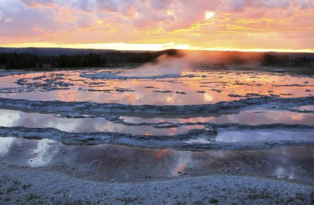 Sunset at firehole geyser