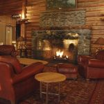 Lake Lodge lobby with fireplace