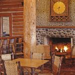 Lake Lodge lobby with fireplace