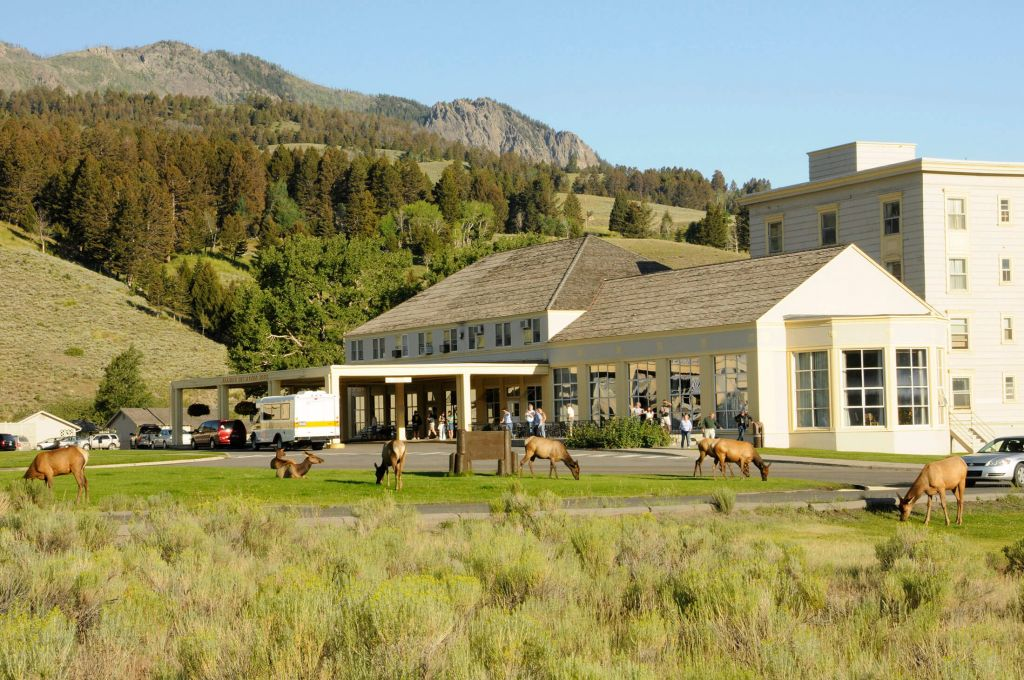 Mammoth hot springs hotel cabins yellowstone national for Yellowstone log cabin hotel