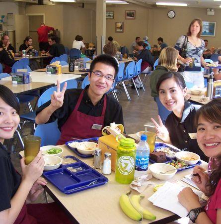 International employees enjoying lunch