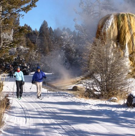 Couple cross-country skiing at Mammoth