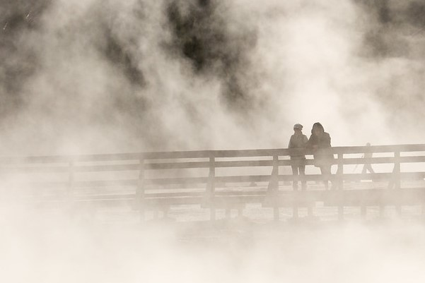 Visitors on boardwalk in a thermal basin