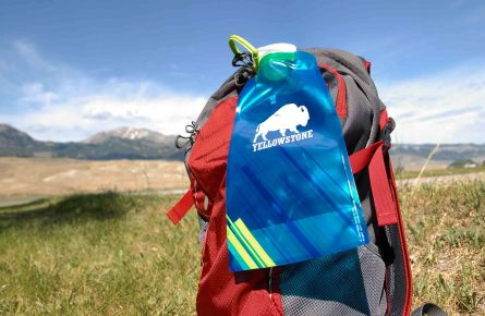 Backpack with Yellowstone water bottle