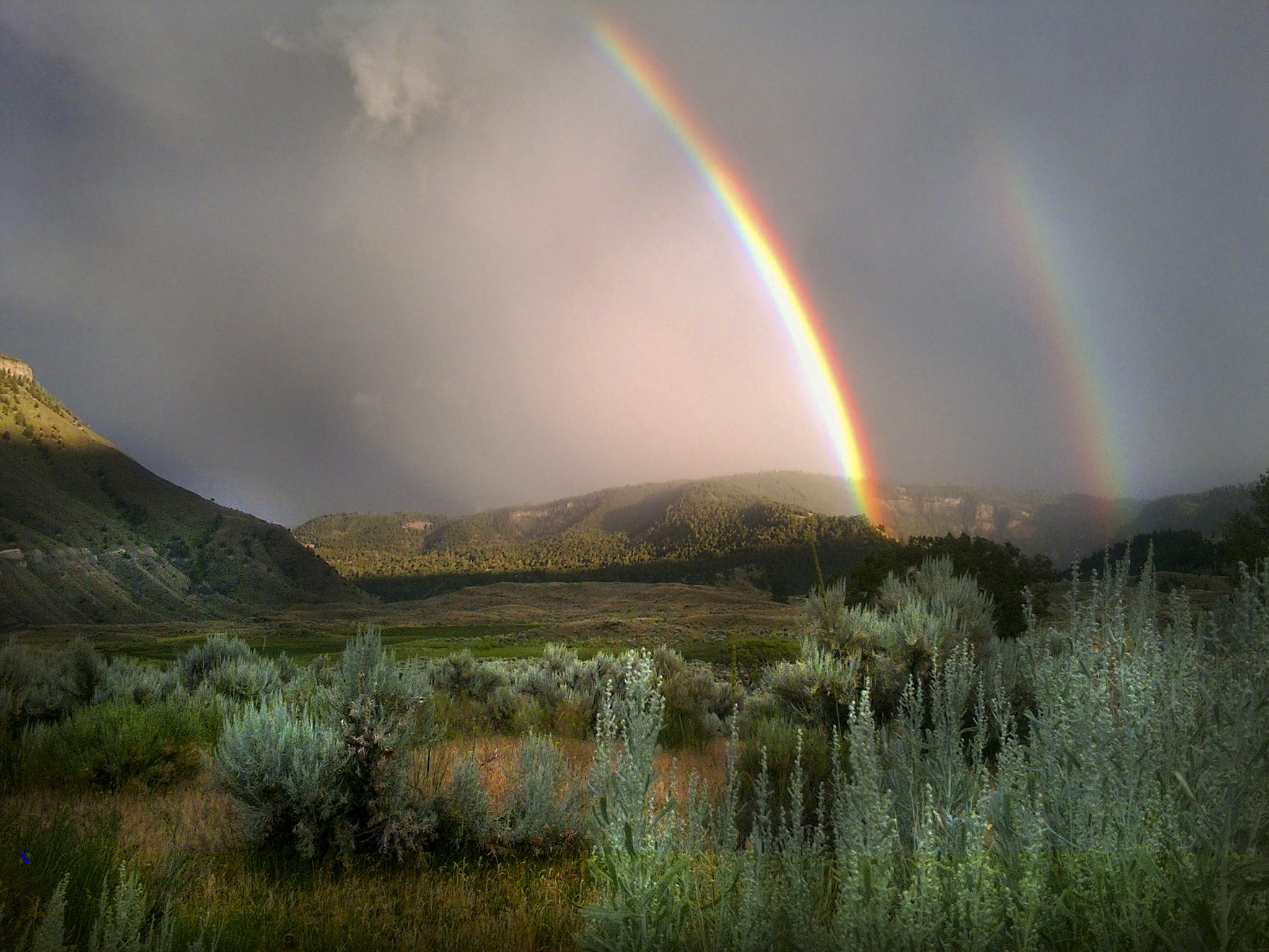 Double rainbow seen from Lower Mammoth
