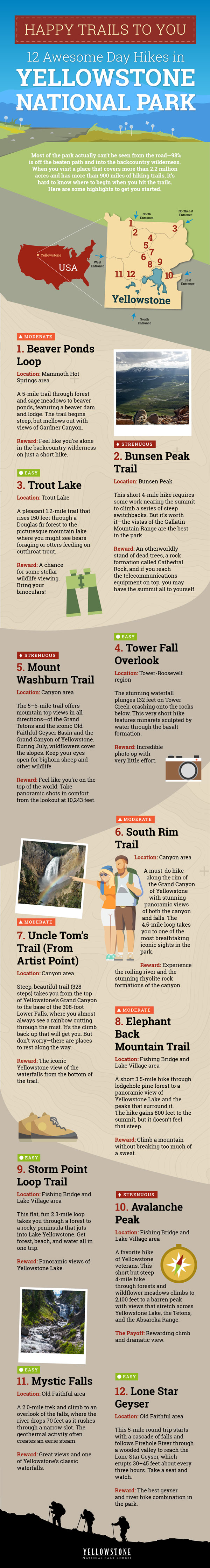 Infographic for day hikes in yellowstone