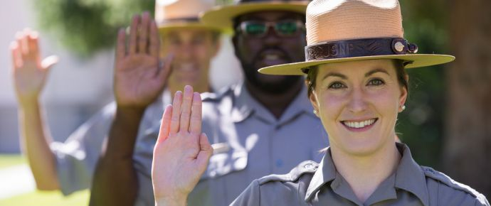 Rangers taking Yellowstone Pledge
