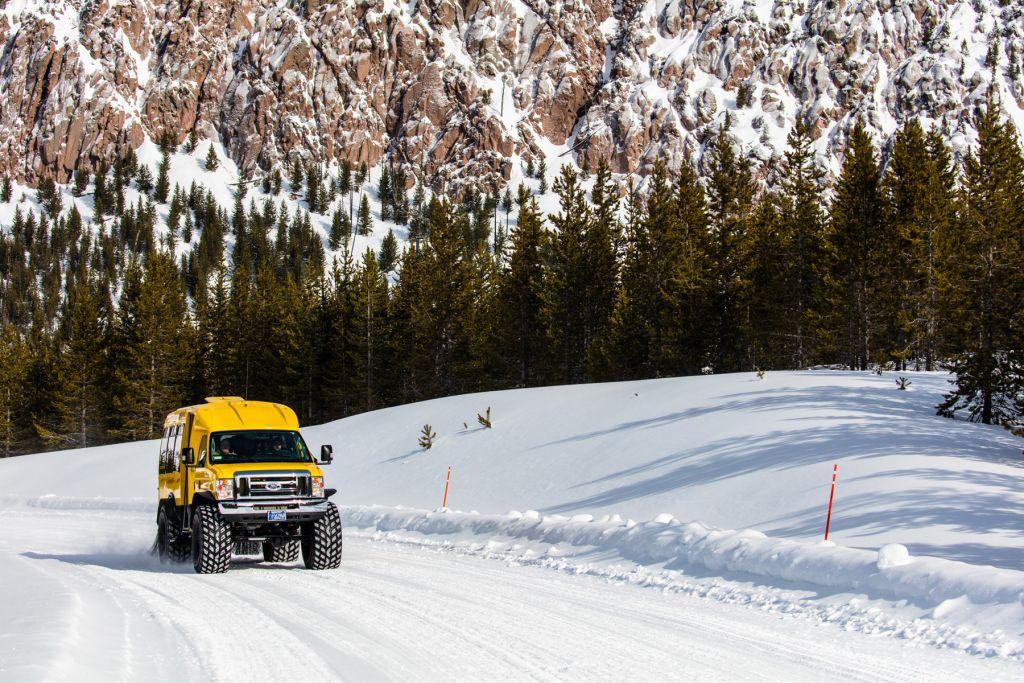 Snowcoach near Tuff Cliff