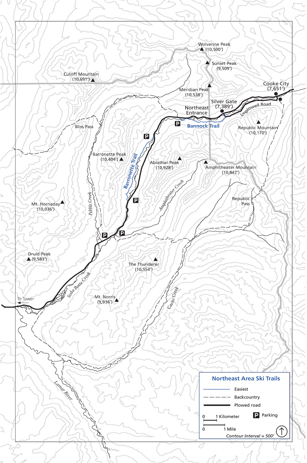 Northeast Ski Trails | Yellowstone National Park Lodges on bear lodge map, slough creek yellowstone map, thorofare wilderness map,