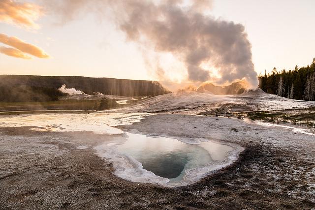Lion Geyser steam phase during sunset