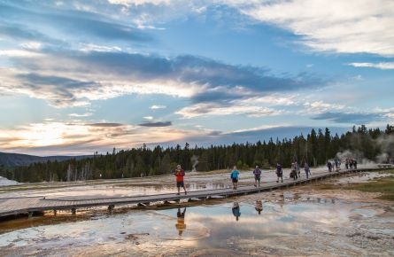 Exploring the Upper Geyser Basin at sunset