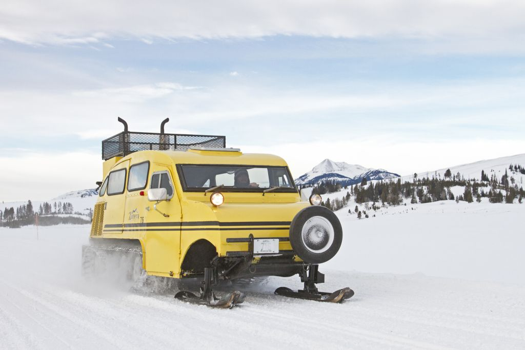 The last trip for the Xanterra Bombardier snowcoaches. Swan Lake Flats