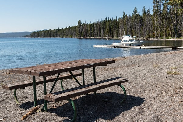 Picnic bench and dock on Plover Point