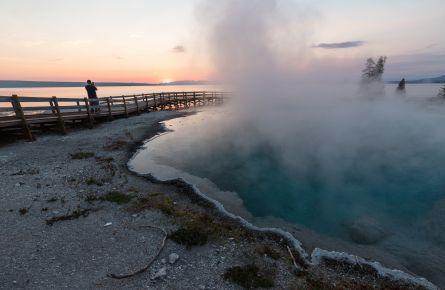 Photographing the sunrise at West Thumb Geyser Basin