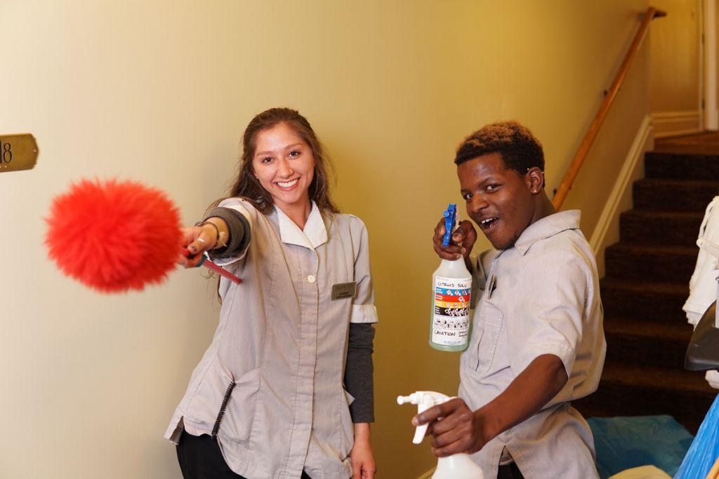 Housekeepers having fun on the job