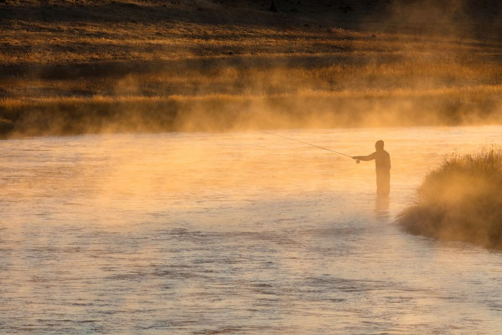 Fall fishing on the Madison River at sunrise