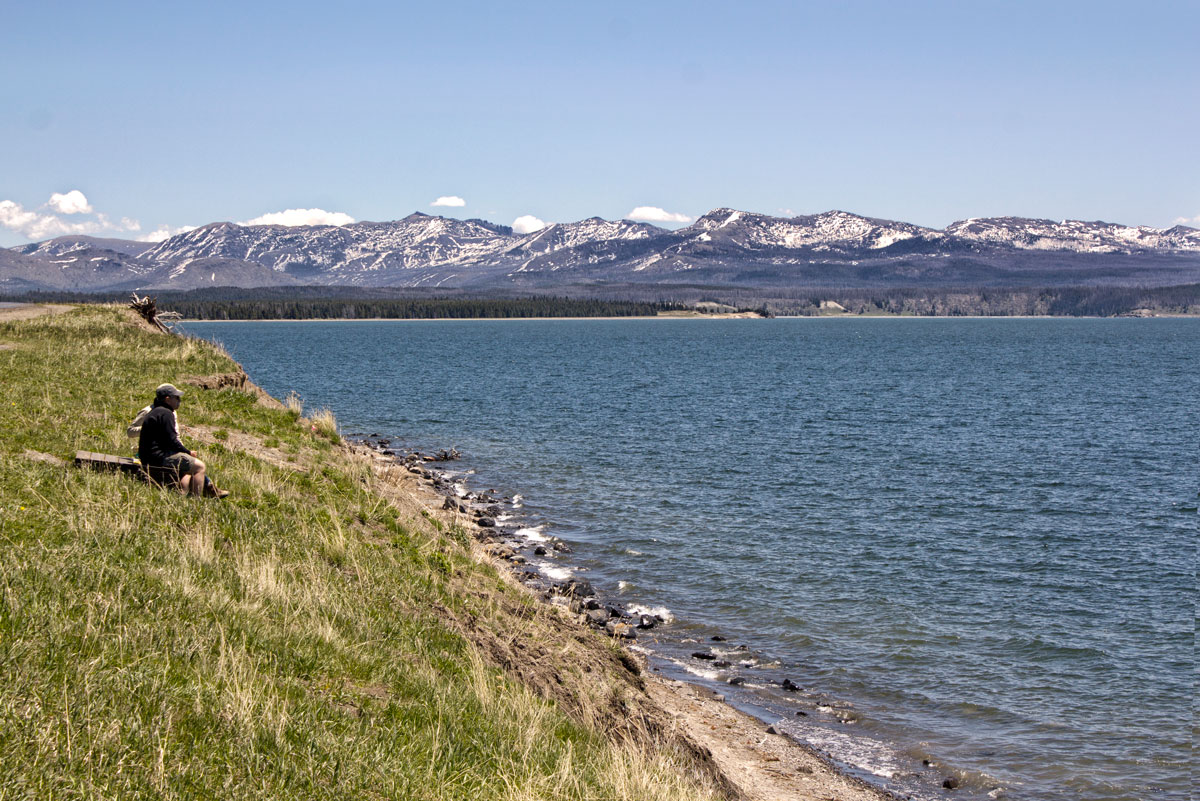 Hikers on Yellowstone Lake