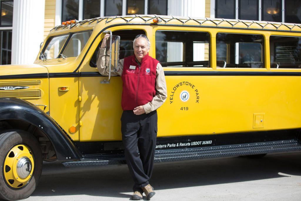 Historic Yellow Bus Driver