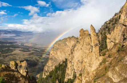 Rainbows from Bunsen Peak, Mammoth Hot Springs
